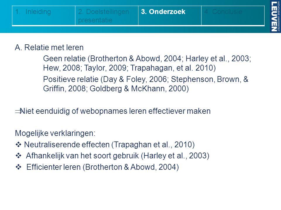 1.Inleiding2. Doelstellingen presentatie 3. Onderzoek4. Conclusie A. Relatie met leren Geen relatie (Brotherton & Abowd, 2004; Harley et al., 2003; He