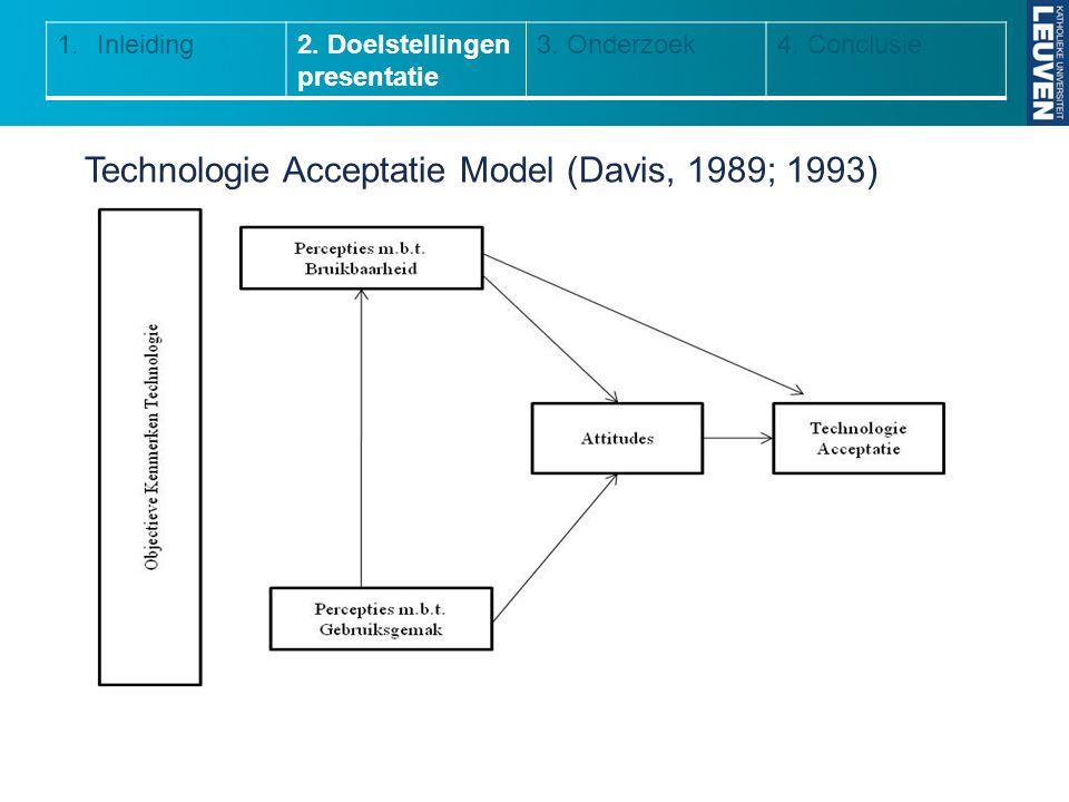 Technologie Acceptatie Model (Davis, 1989; 1993) 1.Inleiding2. Doelstellingen presentatie 3. Onderzoek4. Conclusie
