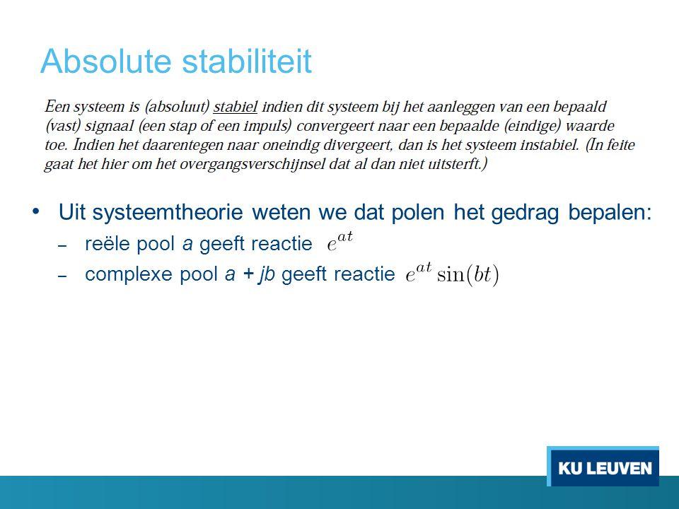 Absolute stabiliteit Uit systeemtheorie weten we dat polen het gedrag bepalen: – reële pool a geeft reactie – complexe pool a + jb geeft reactie
