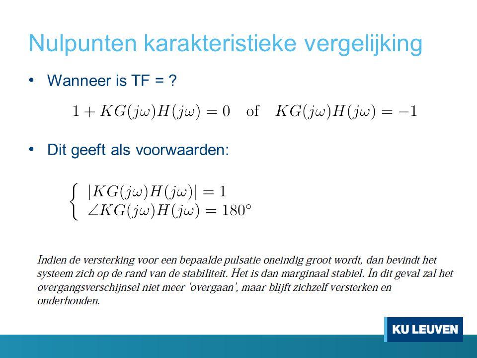 Nulpunten karakteristieke vergelijking Wanneer is TF = ? Dit geeft als voorwaarden:
