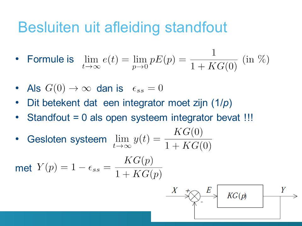 Besluiten uit afleiding standfout Formule is Als dan is Dit betekent dat een integrator moet zijn (1/p) Standfout = 0 als open systeem integrator bevat !!.