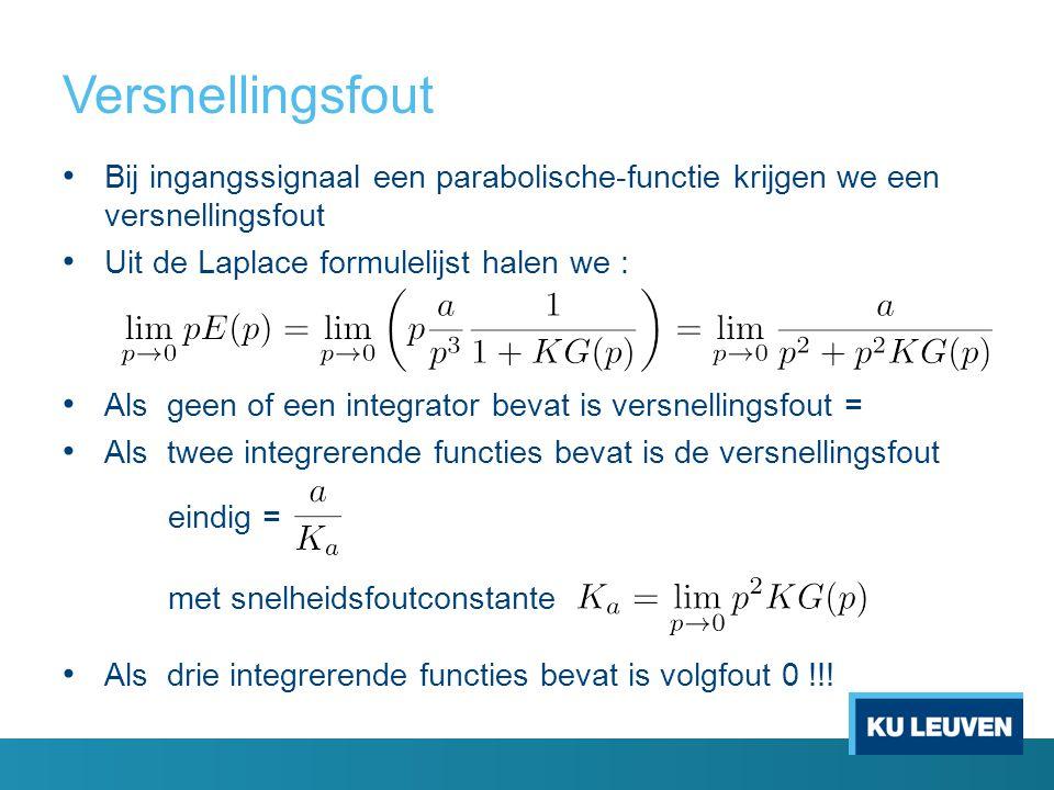Versnellingsfout Bij ingangssignaal een parabolische-functie krijgen we een versnellingsfout Uit de Laplace formulelijst halen we : Als geen of een integrator bevat is versnellingsfout = Als twee integrerende functies bevat is de versnellingsfout eindig = met snelheidsfoutconstante Als drie integrerende functies bevat is volgfout 0 !!!
