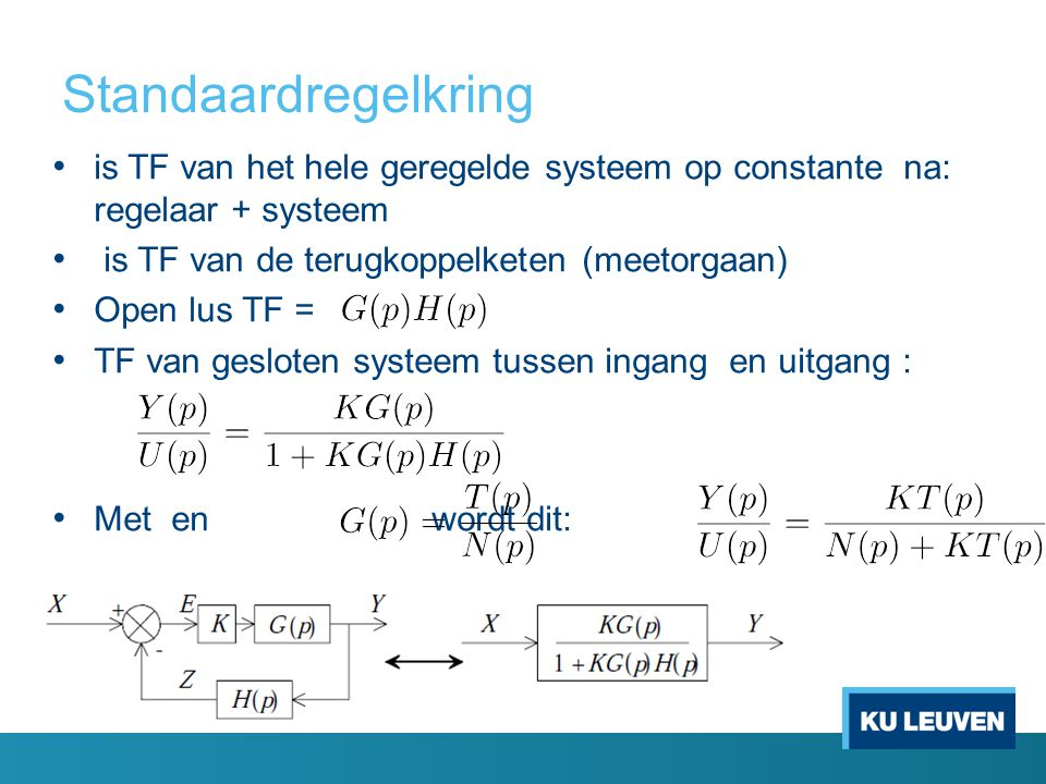 Standaardregelkring is TF van het hele geregelde systeem op constante na: regelaar + systeem is TF van de terugkoppelketen (meetorgaan) Open lus TF = TF van gesloten systeem tussen ingang en uitgang : Met en wordt dit: