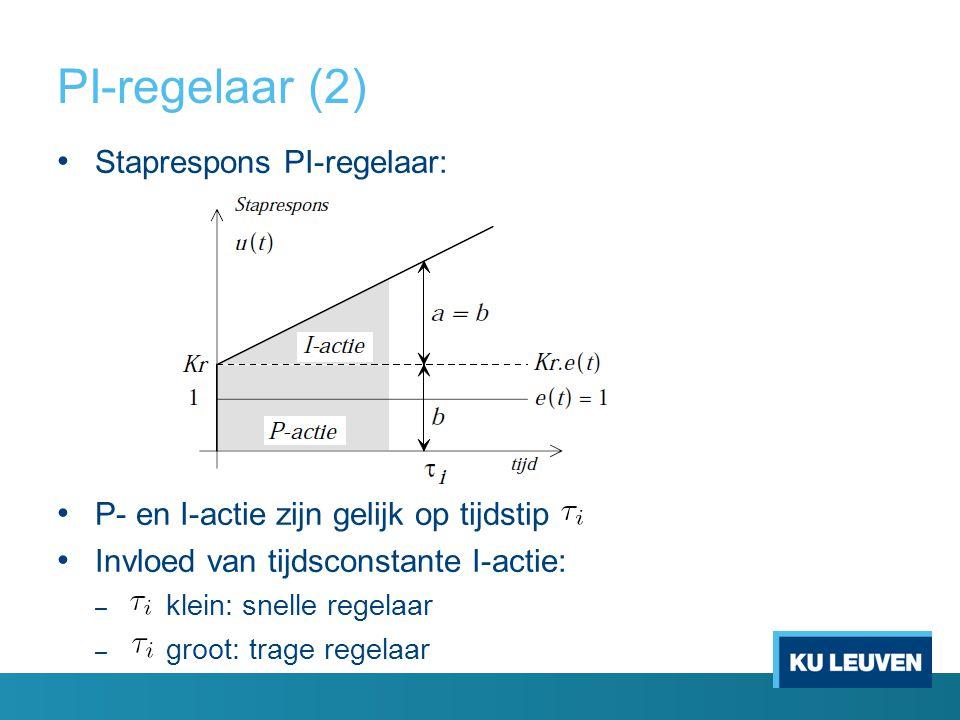 PI-regelaar (2) Staprespons PI-regelaar: P- en I-actie zijn gelijk op tijdstip Invloed van tijdsconstante I-actie: – klein: snelle regelaar – groot: t