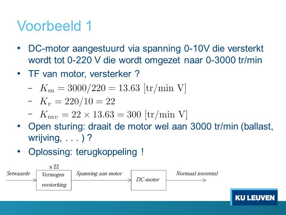 Voorbeeld 1 DC-motor aangestuurd via spanning 0-10V die versterkt wordt tot 0-220 V die wordt omgezet naar 0-3000 tr/min TF van motor, versterker ? –