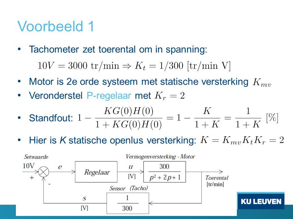 Voorbeeld 1 Tachometer zet toerental om in spanning: Motor is 2e orde systeem met statische versterking Veronderstel P-regelaar met Standfout: Hier is