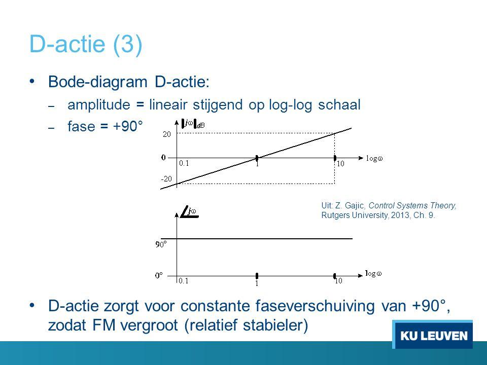 D-actie (3) Bode-diagram D-actie: – amplitude = lineair stijgend op log-log schaal – fase = +90° D-actie zorgt voor constante faseverschuiving van +90