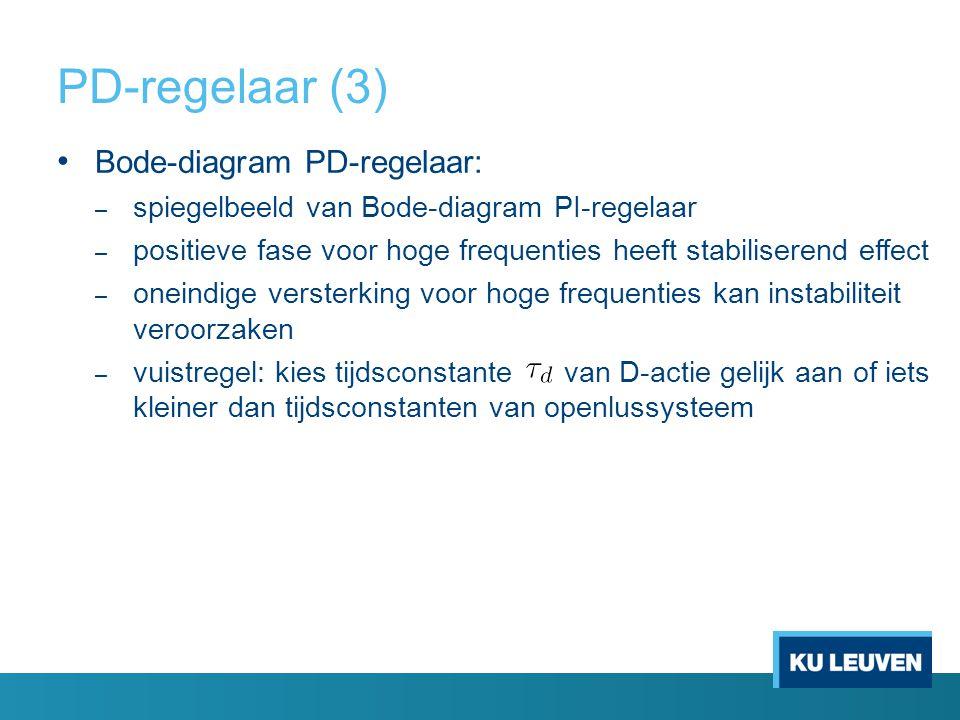 PD-regelaar (3) Bode-diagram PD-regelaar: – spiegelbeeld van Bode-diagram PI-regelaar – positieve fase voor hoge frequenties heeft stabiliserend effec