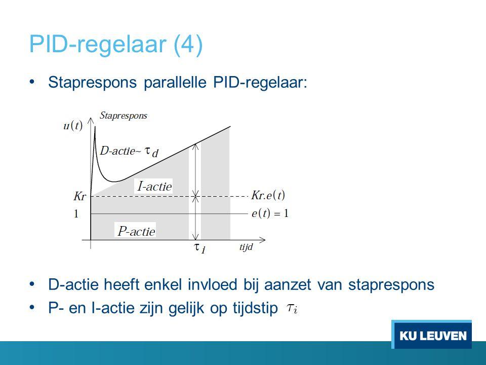 Staprespons parallelle PID-regelaar: D-actie heeft enkel invloed bij aanzet van staprespons P- en I-actie zijn gelijk op tijdstip PID-regelaar (4)