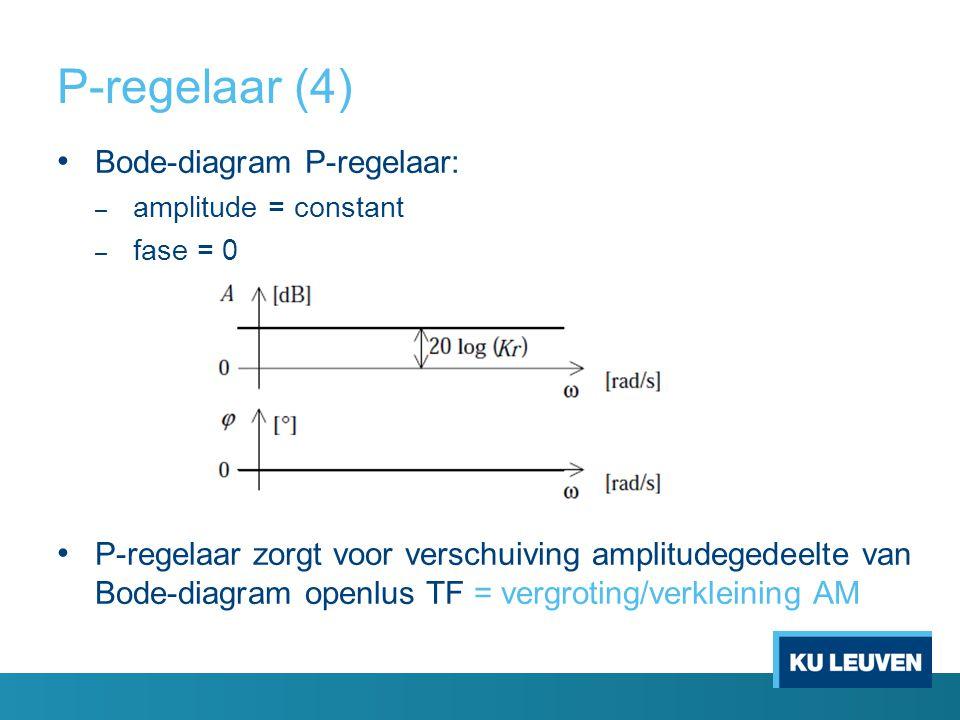 P-regelaar (4) Bode-diagram P-regelaar: – amplitude = constant – fase = 0 P-regelaar zorgt voor verschuiving amplitudegedeelte van Bode-diagram openlu
