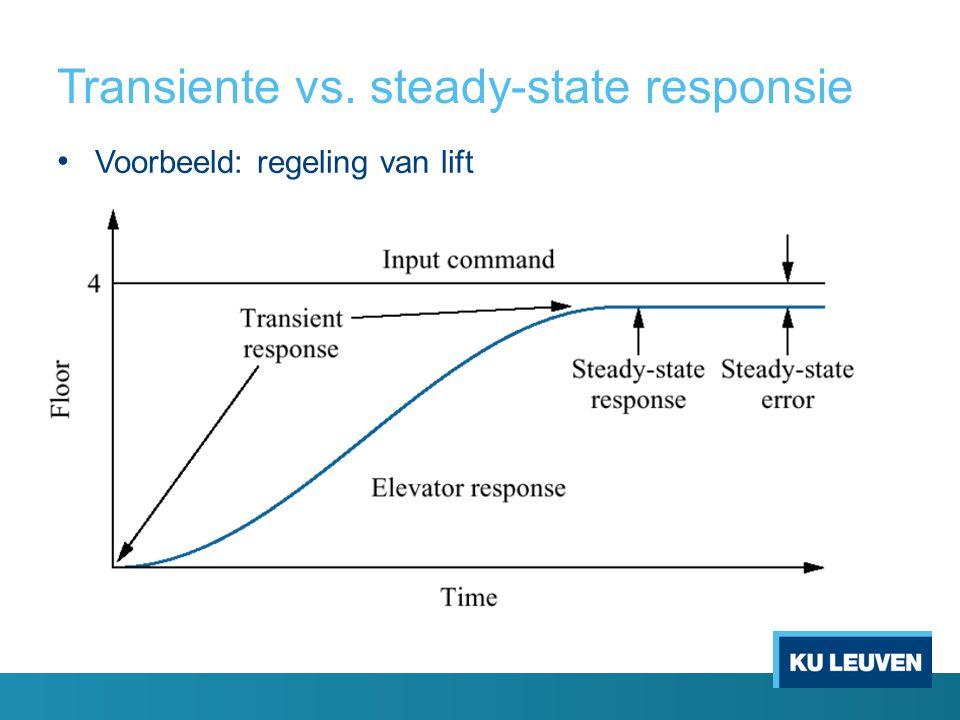 Transiente vs. steady-state responsie Voorbeeld: regeling van lift