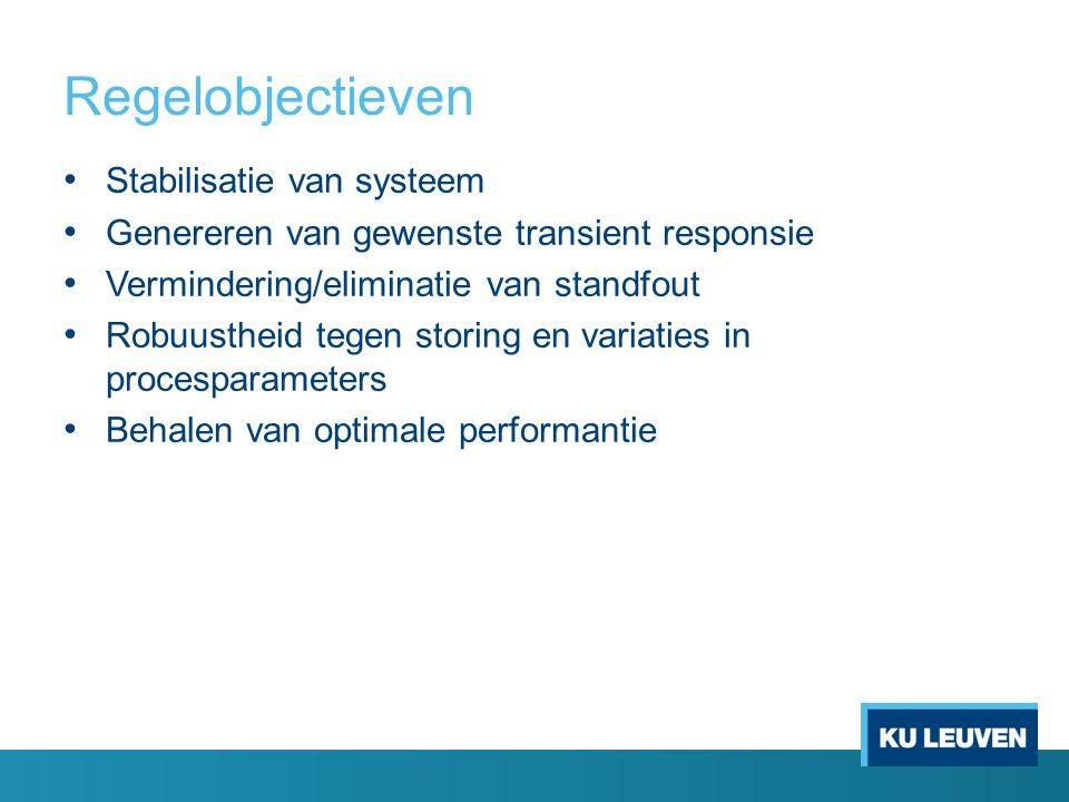 Regelobjectieven Stabilisatie van systeem Genereren van gewenste transient responsie Vermindering/eliminatie van standfout Robuustheid tegen storing en variaties in procesparameters Behalen van optimale performantie