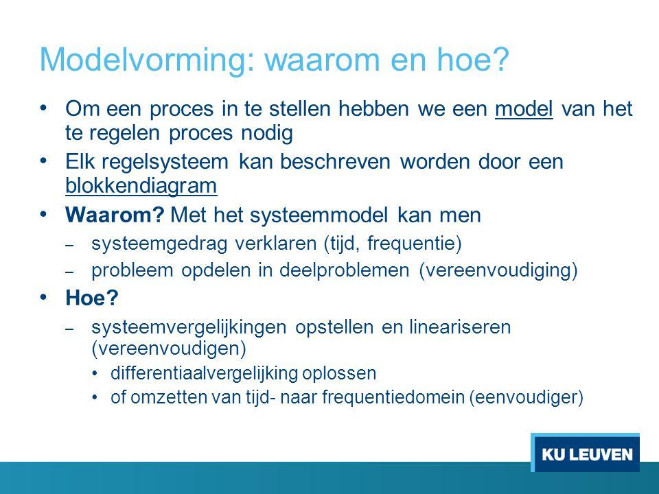 Modelvorming: waarom en hoe? Om een proces in te stellen hebben we een model van het te regelen proces nodig Elk regelsysteem kan beschreven worden do