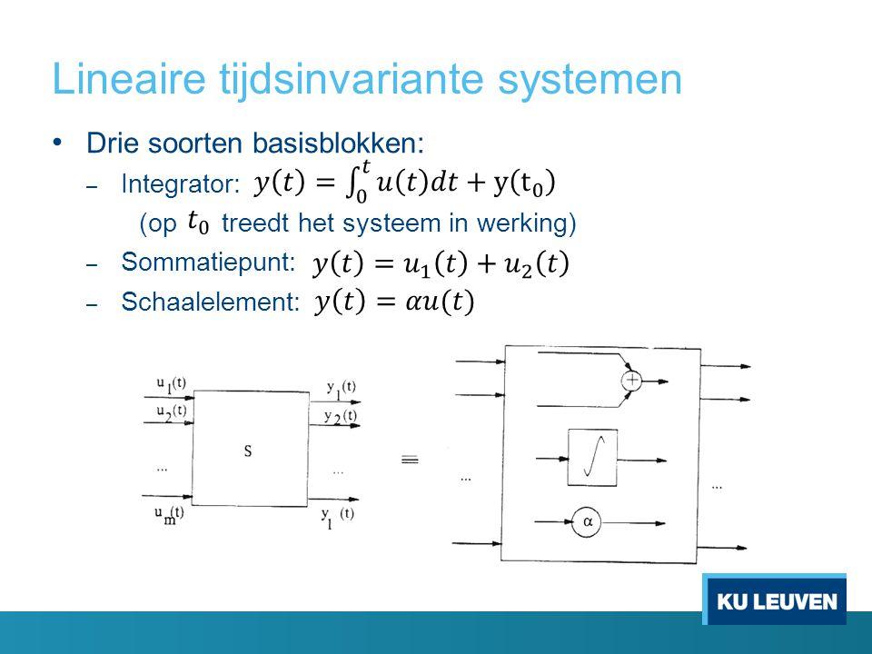 Lineaire tijdsinvariante systemen Drie soorten basisblokken: – Integrator: (op treedt het systeem in werking) – Sommatiepunt: – Schaalelement: