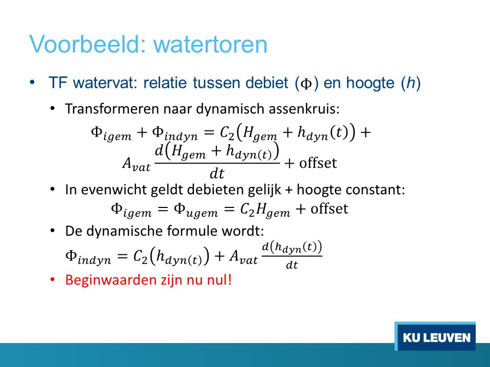 TF watervat: relatie tussen debiet ( ) en hoogte (h)