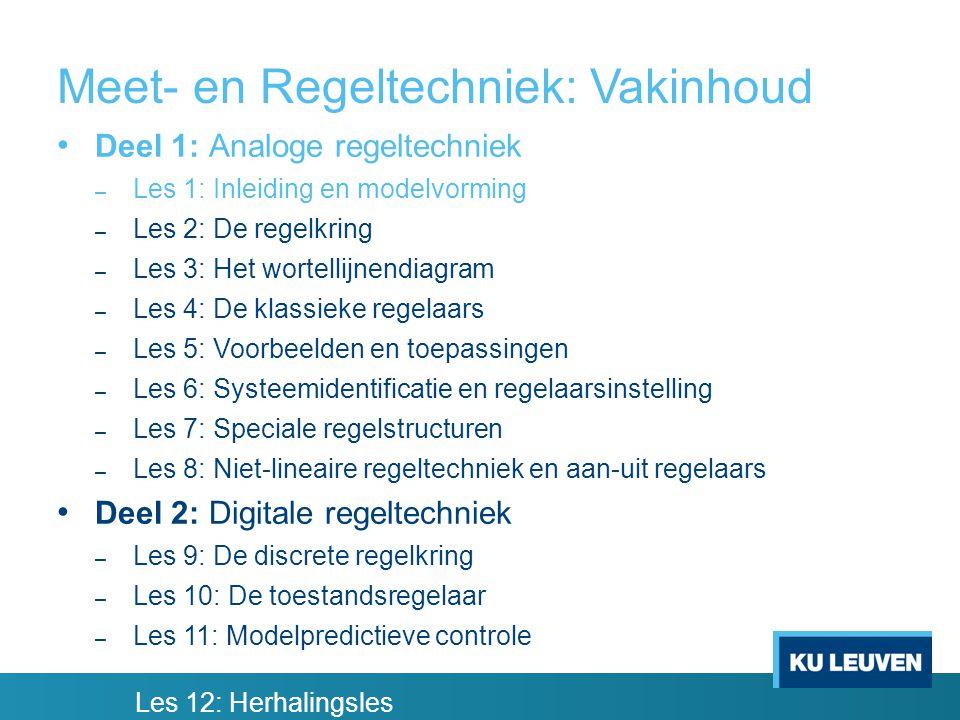 Meet- en Regeltechniek: Vakinhoud Deel 1: Analoge regeltechniek – Les 1: Inleiding en modelvorming – Les 2: De regelkring – Les 3: Het wortellijnendiagram – Les 4: De klassieke regelaars – Les 5: Voorbeelden en toepassingen – Les 6: Systeemidentificatie en regelaarsinstelling – Les 7: Speciale regelstructuren – Les 8: Niet-lineaire regeltechniek en aan-uit regelaars Deel 2: Digitale regeltechniek – Les 9: De discrete regelkring – Les 10: De toestandsregelaar – Les 11: Modelpredictieve controle Les 12: Herhalingsles