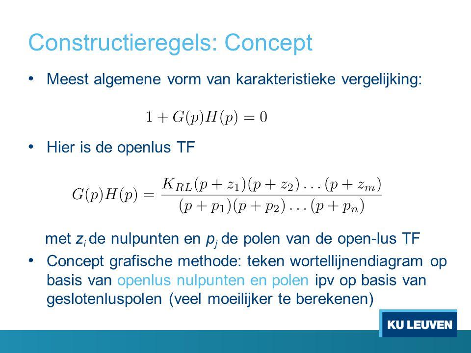 Constructieregels: Concept Meest algemene vorm van karakteristieke vergelijking: Hier is de openlus TF met z i de nulpunten en p j de polen van de ope