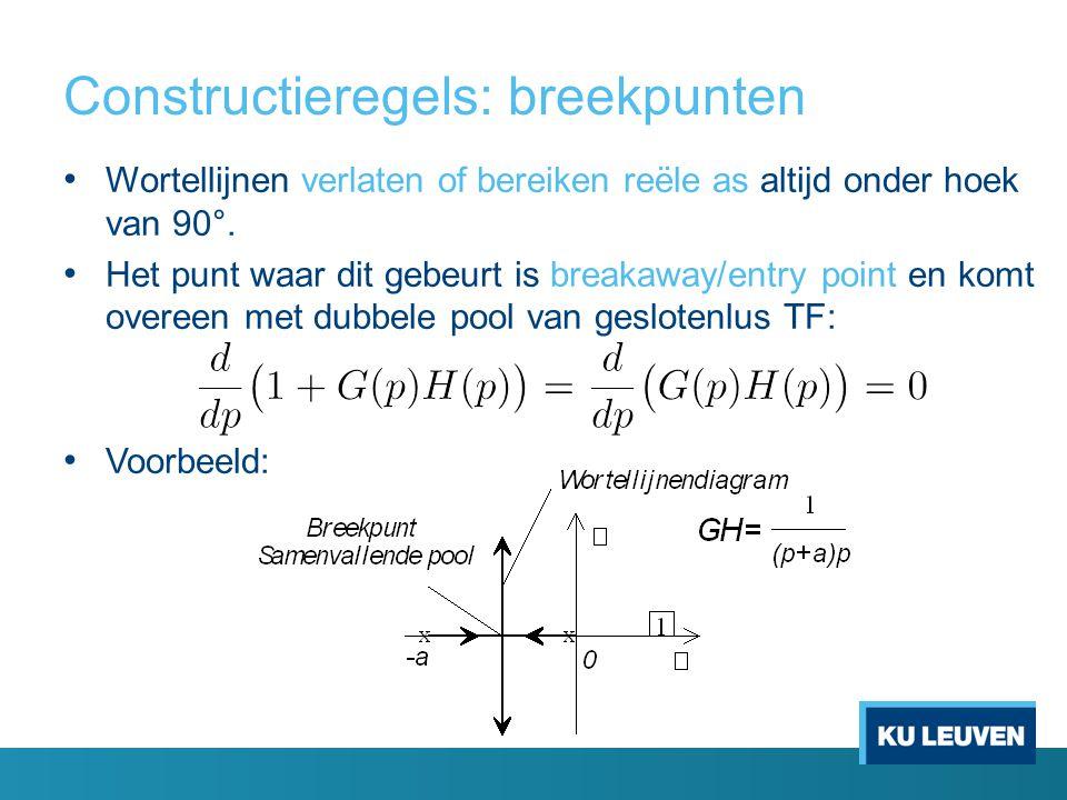 Constructieregels: breekpunten Wortellijnen verlaten of bereiken reële as altijd onder hoek van 90°. Het punt waar dit gebeurt is breakaway/entry poin