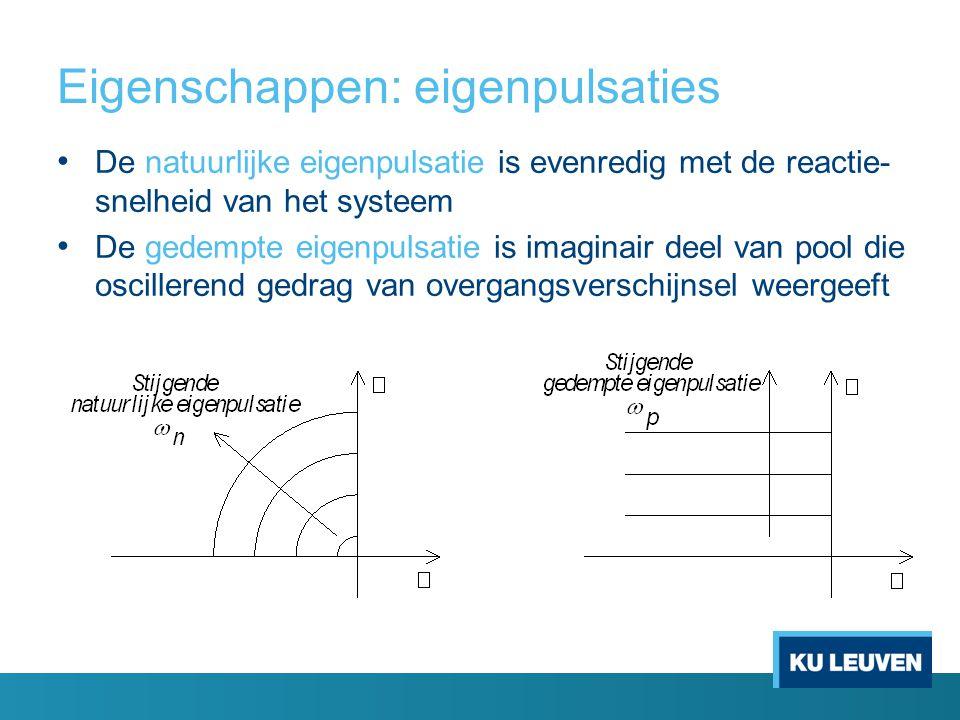 Eigenschappen: eigenpulsaties De natuurlijke eigenpulsatie is evenredig met de reactie- snelheid van het systeem De gedempte eigenpulsatie is imaginair deel van pool die oscillerend gedrag van overgangsverschijnsel weergeeft