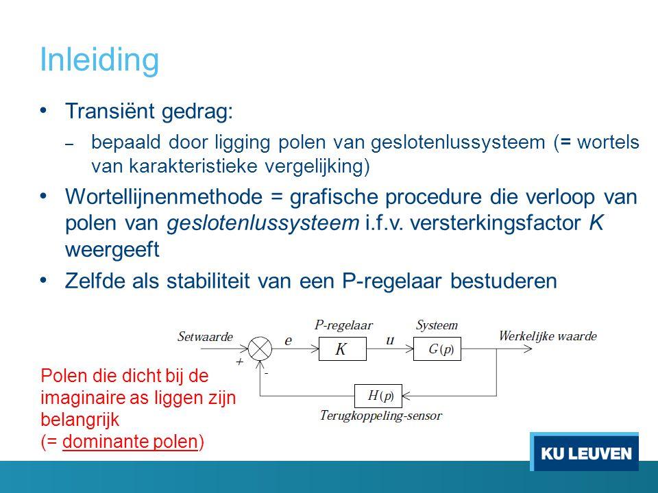 Inleiding Transiënt gedrag: – bepaald door ligging polen van geslotenlussysteem (= wortels van karakteristieke vergelijking) Wortellijnenmethode = gra