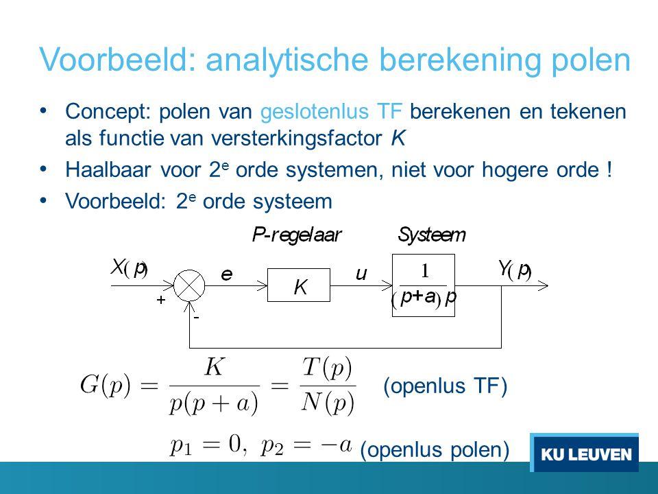 Voorbeeld: analytische berekening polen Concept: polen van geslotenlus TF berekenen en tekenen als functie van versterkingsfactor K Haalbaar voor 2 e orde systemen, niet voor hogere orde .