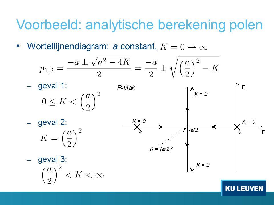 Voorbeeld: analytische berekening polen Wortellijnendiagram: a constant, – geval 1: – geval 2: – geval 3: