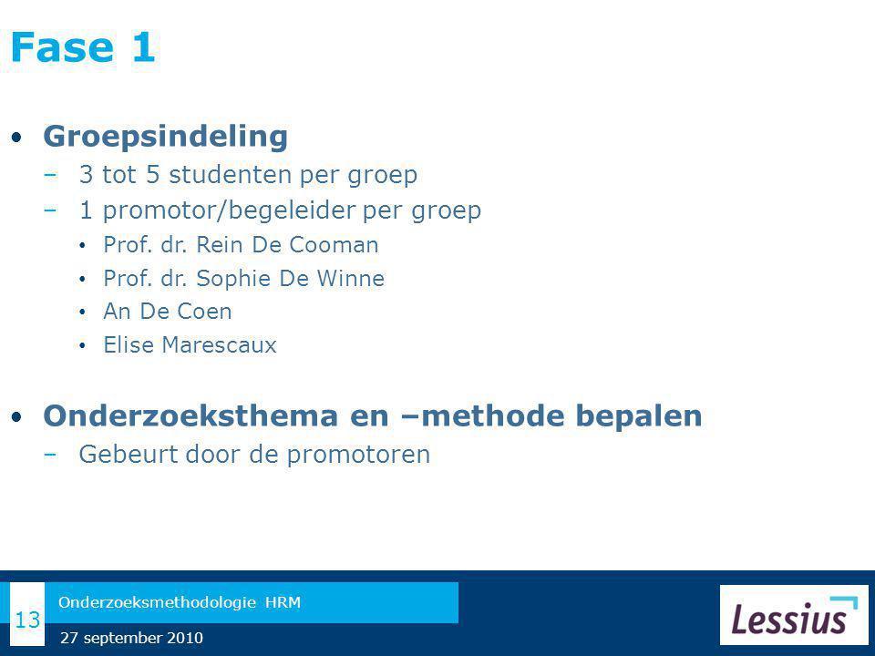 Fase 1 Groepsindeling − 3 tot 5 studenten per groep − 1 promotor/begeleider per groep Prof.