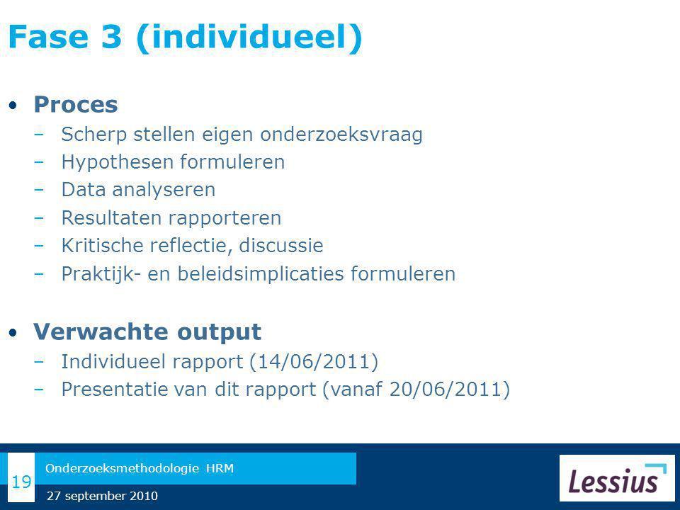 Fase 3 (individueel) Proces − Scherp stellen eigen onderzoeksvraag − Hypothesen formuleren − Data analyseren − Resultaten rapporteren − Kritische reflectie, discussie − Praktijk- en beleidsimplicaties formuleren Verwachte output − Individueel rapport (14/06/2011) − Presentatie van dit rapport (vanaf 20/06/2011) 19 Onderzoeksmethodologie HRM 27 september 2010