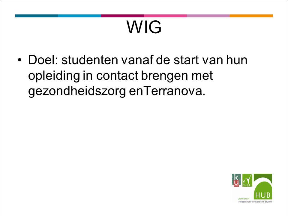 WIG Doel: studenten vanaf de start van hun opleiding in contact brengen met gezondheidszorg enTerranova.