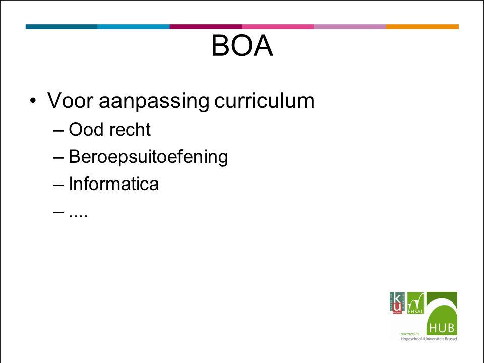 BOA Voor aanpassing curriculum –Ood recht –Beroepsuitoefening –Informatica –....