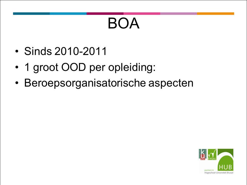 BOA Sinds 2010-2011 1 groot OOD per opleiding: Beroepsorganisatorische aspecten
