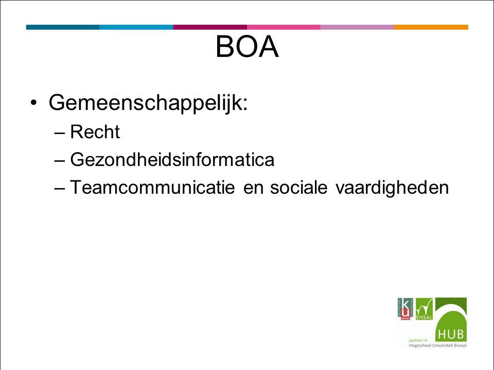 BOA Gemeenschappelijk: –Recht –Gezondheidsinformatica –Teamcommunicatie en sociale vaardigheden