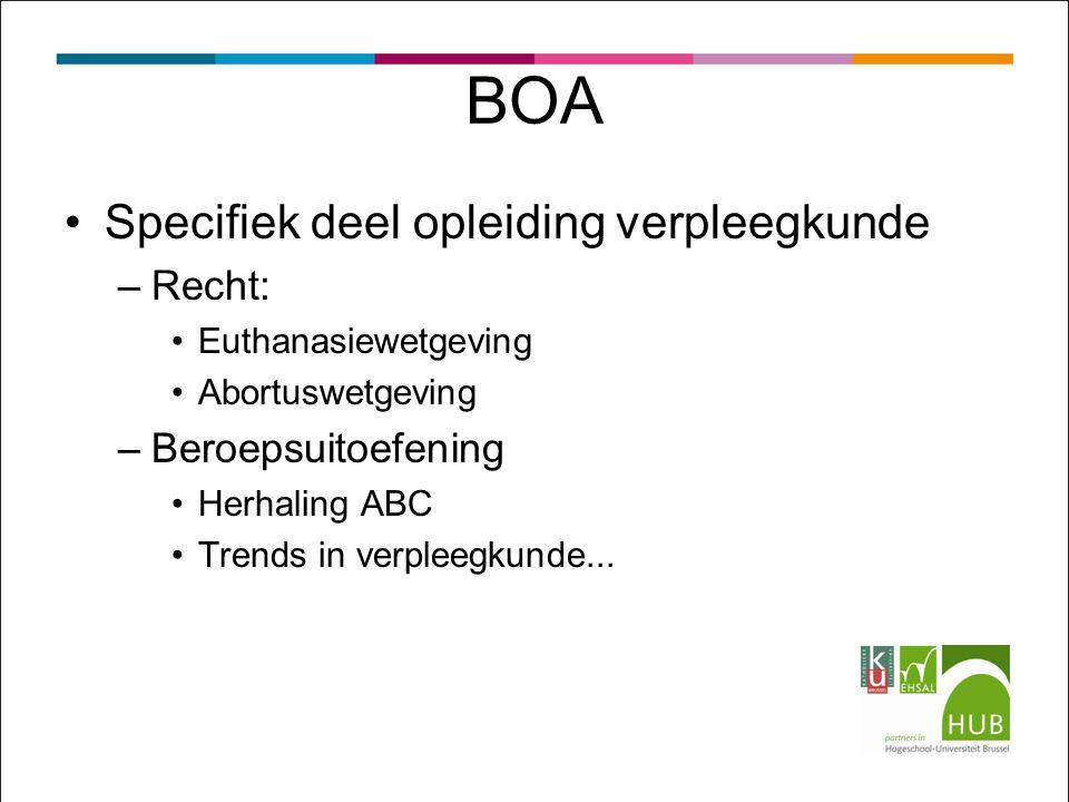 BOA Specifiek deel opleiding verpleegkunde –Recht: Euthanasiewetgeving Abortuswetgeving –Beroepsuitoefening Herhaling ABC Trends in verpleegkunde...