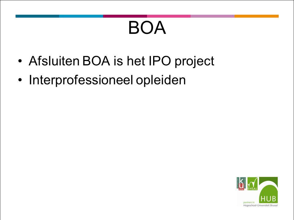BOA Afsluiten BOA is het IPO project Interprofessioneel opleiden