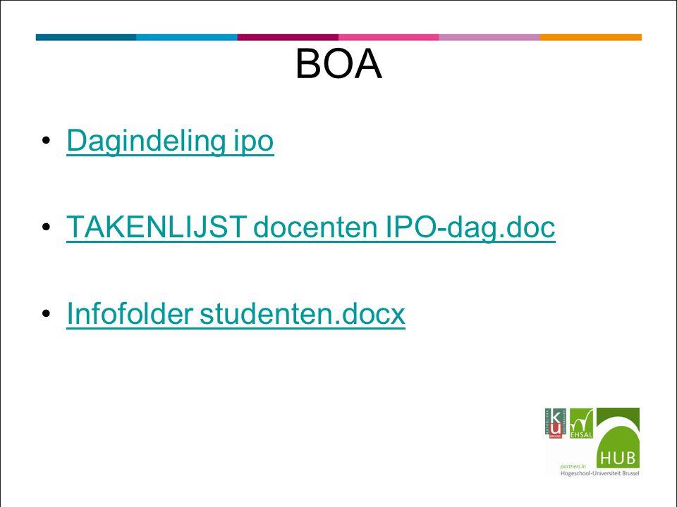 BOA Dagindeling ipo TAKENLIJST docenten IPO-dag.doc Infofolder studenten.docx