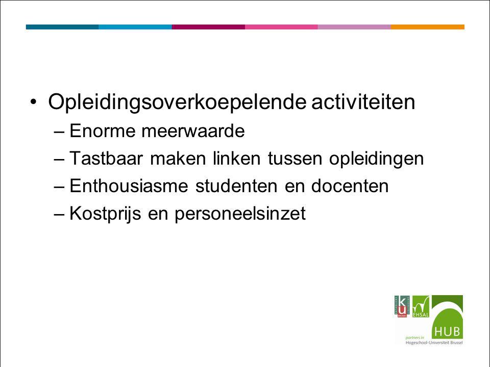 Opleidingsoverkoepelende activiteiten –Enorme meerwaarde –Tastbaar maken linken tussen opleidingen –Enthousiasme studenten en docenten –Kostprijs en personeelsinzet