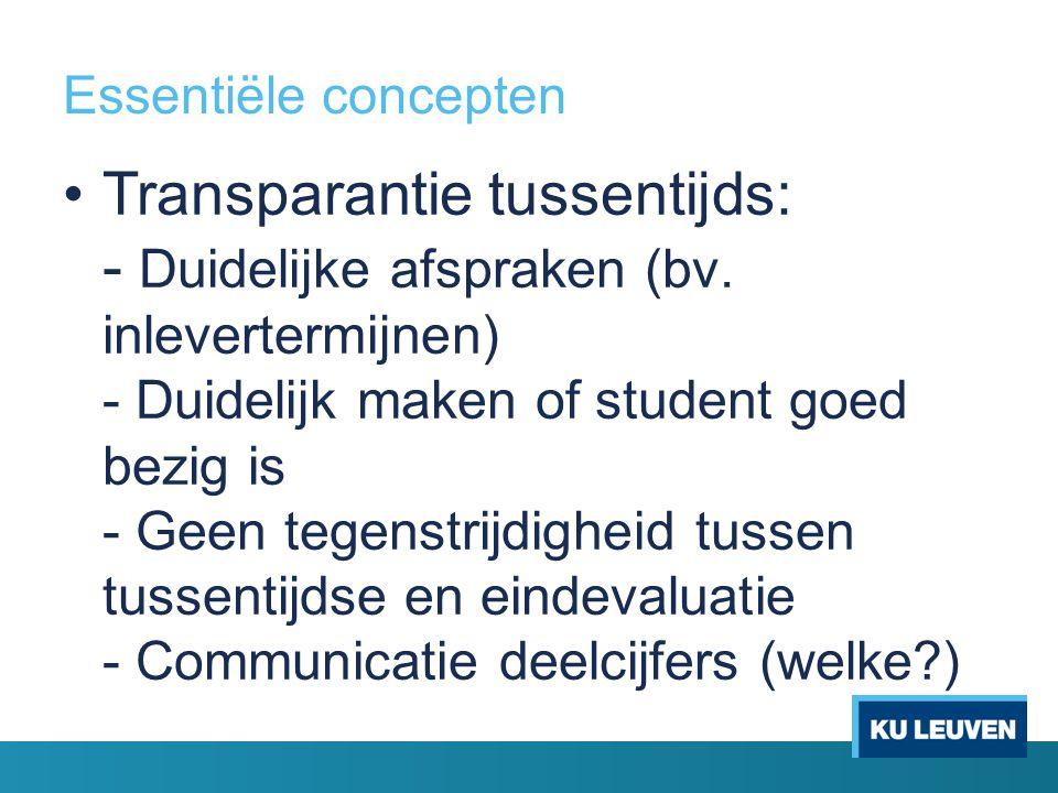Essentiële concepten Transparantie tussentijds: - Duidelijke afspraken (bv. inlevertermijnen) - Duidelijk maken of student goed bezig is - Geen tegens
