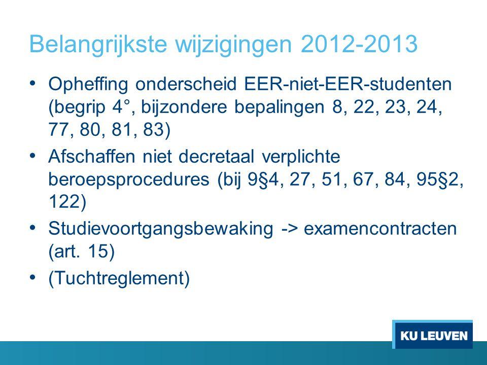 Belangrijkste wijzigingen 2012-2013 Opheffing onderscheid EER-niet-EER-studenten (begrip 4°, bijzondere bepalingen 8, 22, 23, 24, 77, 80, 81, 83) Afschaffen niet decretaal verplichte beroepsprocedures (bij 9§4, 27, 51, 67, 84, 95§2, 122) Studievoortgangsbewaking -> examencontracten (art.