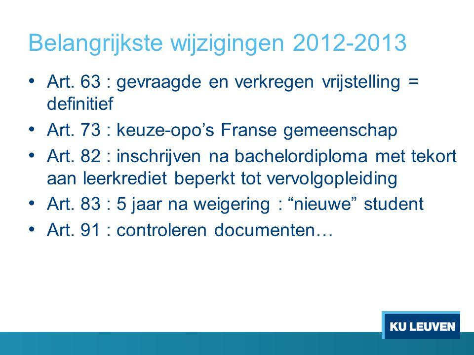 Belangrijkste wijzigingen 2012-2013 Art. 63 : gevraagde en verkregen vrijstelling = definitief Art. 73 : keuze-opo's Franse gemeenschap Art. 82 : insc