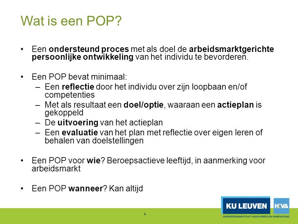 Onderzoek: uitvoeringsconcept en effecten Hier mix onderzoek 1 en 2 : –Uitvoeringsconcept ideaaltype (O1 + aanvulling O2) –Effecten op basis van praktijk (O2) Onderscheid 'interne' en 'externe' POPs belangrijk, waarbij –E.P.(Focus op loopbaantransitie) –I.P.