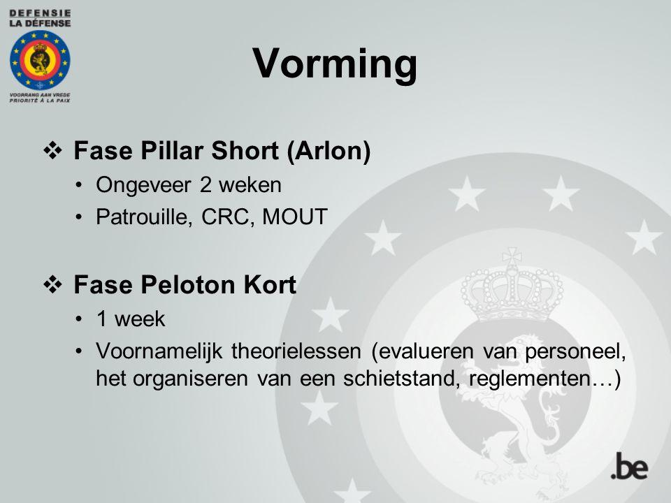 Vorming  Fase Pillar Short (Arlon) Ongeveer 2 weken Patrouille, CRC, MOUT  Fase Peloton Kort 1 week Voornamelijk theorielessen (evalueren van person