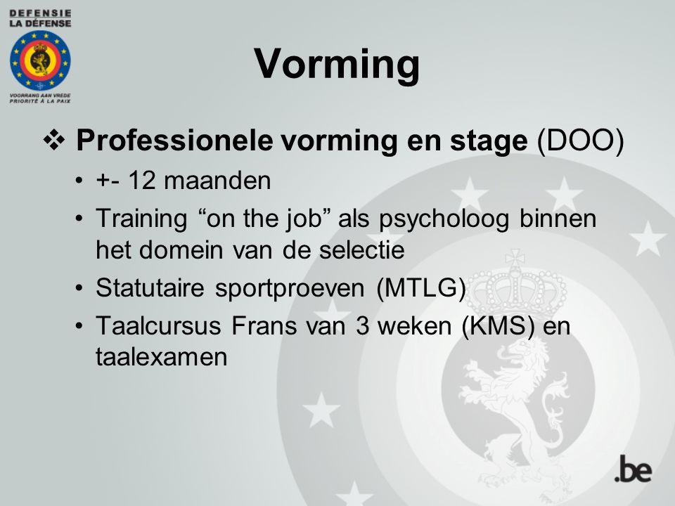 """Vorming  Professionele vorming en stage (DOO) +- 12 maanden Training """"on the job"""" als psycholoog binnen het domein van de selectie Statutaire sportpr"""