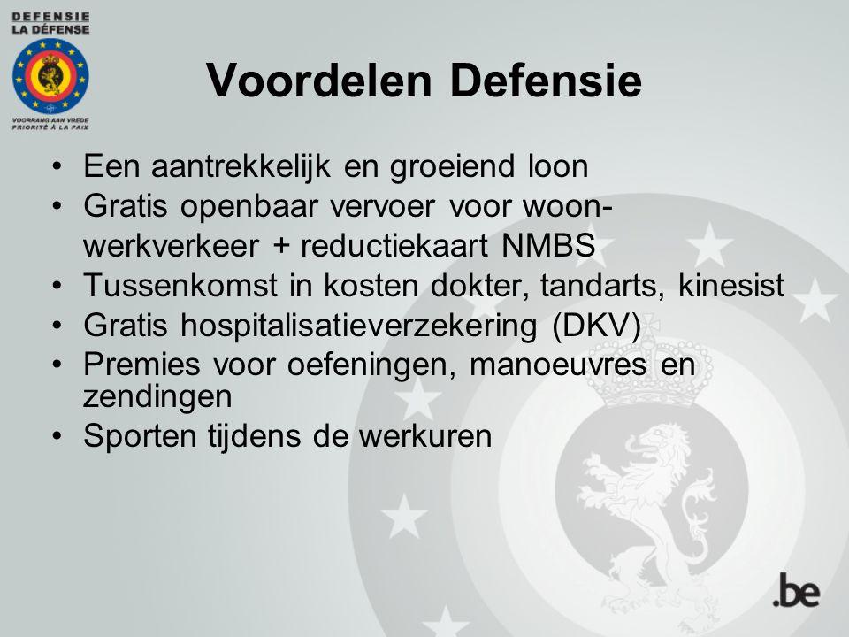 Voordelen Defensie Een aantrekkelijk en groeiend loon Gratis openbaar vervoer voor woon- werkverkeer + reductiekaart NMBS Tussenkomst in kosten dokter