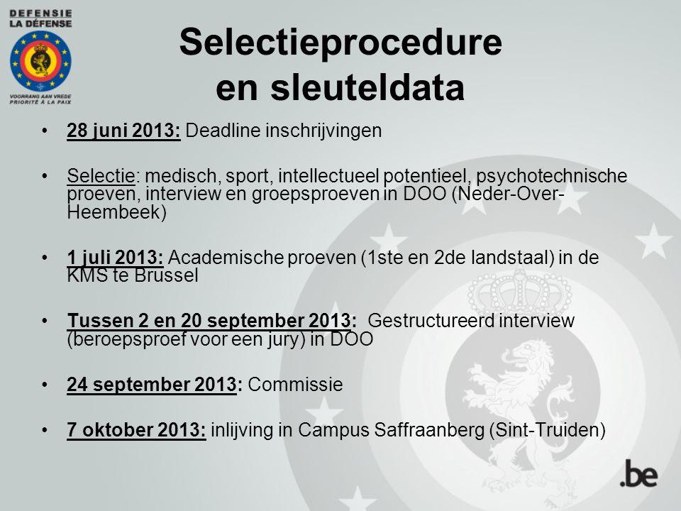 Selectieprocedure en sleuteldata 28 juni 2013: Deadline inschrijvingen Selectie: medisch, sport, intellectueel potentieel, psychotechnische proeven, i