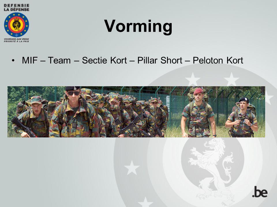 Vorming  MIF (Campus Saffraanberg) 8 à 9 weken Kennismaking met het militaire milieu Basisvaardigheden (wapenmanipulaties, schietoefeningen, reglementen, kaartlezen, camouflage, bivak, tactiek, eerste zorgen…) Marsen en drill Sport Internaatsysteem
