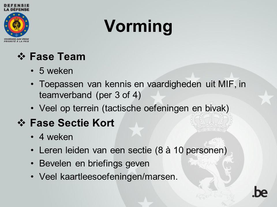 Vorming  Fase Team 5 weken Toepassen van kennis en vaardigheden uit MIF, in teamverband (per 3 of 4) Veel op terrein (tactische oefeningen en bivak)
