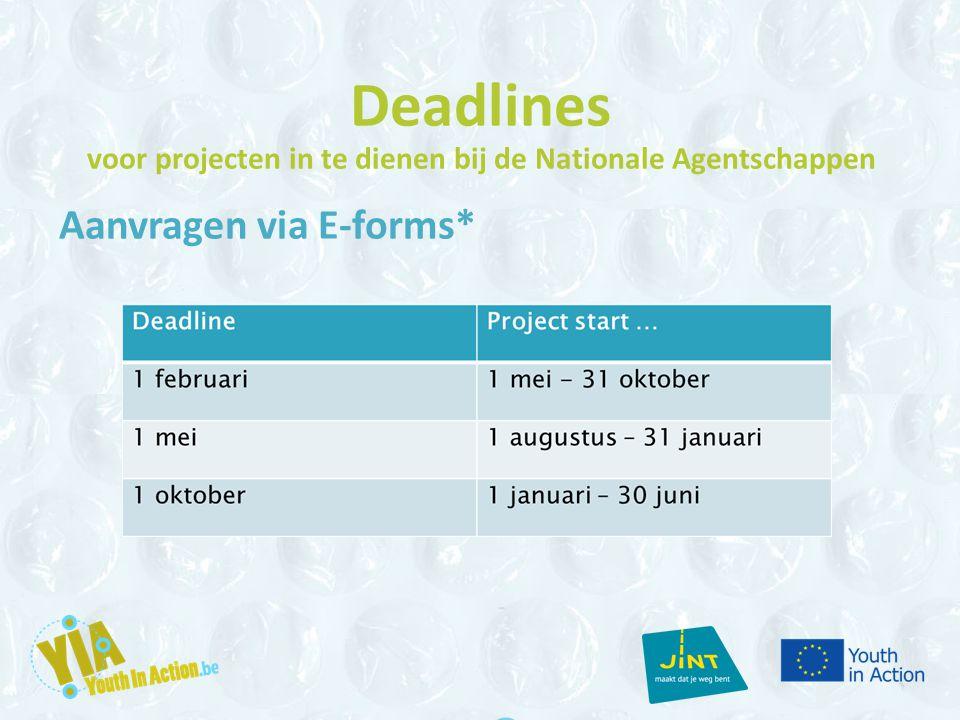 Deadlines voor projecten in te dienen bij de Nationale Agentschappen Aanvragen via E-forms*