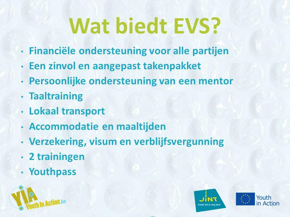 Wat biedt EVS? Financiële ondersteuning voor alle partijen Een zinvol en aangepast takenpakket Persoonlijke ondersteuning van een mentor Taaltraining