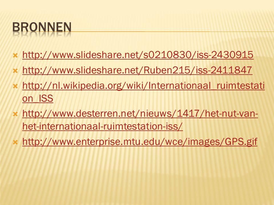  http://www.slideshare.net/s0210830/iss-2430915 http://www.slideshare.net/s0210830/iss-2430915  http://www.slideshare.net/Ruben215/iss-2411847 http://www.slideshare.net/Ruben215/iss-2411847  http://nl.wikipedia.org/wiki/Internationaal_ruimtestati on_ISS http://nl.wikipedia.org/wiki/Internationaal_ruimtestati on_ISS  http://www.desterren.net/nieuws/1417/het-nut-van- het-internationaal-ruimtestation-iss/ http://www.desterren.net/nieuws/1417/het-nut-van- het-internationaal-ruimtestation-iss/  http://www.enterprise.mtu.edu/wce/images/GPS.gif http://www.enterprise.mtu.edu/wce/images/GPS.gif
