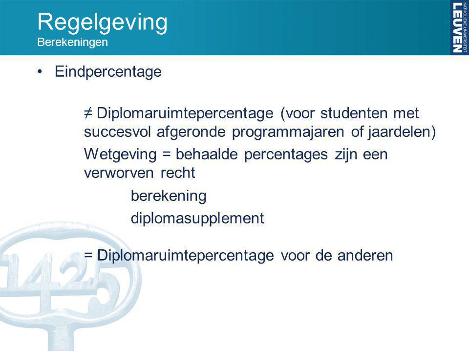 Regelgeving Berekeningen Eindpercentage ≠ Diplomaruimtepercentage (voor studenten met succesvol afgeronde programmajaren of jaardelen) Wetgeving = beh